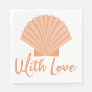 航海のな愛貝殻のオレンジ結婚披露宴 スタンダードランチョンナプキン