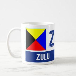 """航海のな旗のアルファベット""""Z""""のズールー コーヒーマグカップ"""