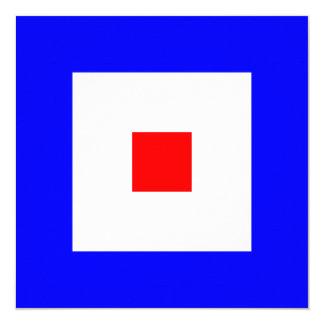 航海のな旗信号のウィスキーの手紙W 13.3 スクエアインビテーションカード