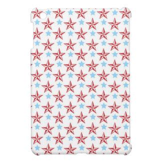 航海のな星赤い及び青のクールでプレッピーな星パターン iPad MINIケース