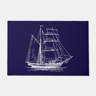 航海のな歓迎されたドア・マットの青い帆ボートの船 ドアマット