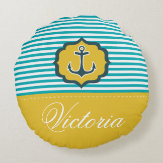 航海のな水の青く黄色いストライプのいかりの習慣 ラウンドクッション