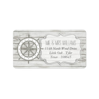 航海のな水漆喰を塗られた木製のビーチ結婚式のコレクション ラベル