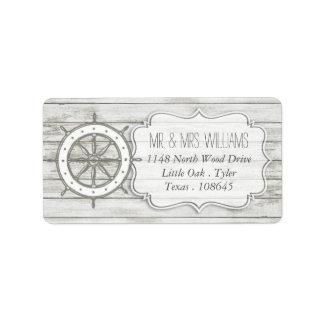 航海のな水漆喰を塗られた木製のビーチ結婚式のコレクション 宛名ラベル