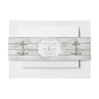 航海のな水漆喰を塗られた木製のビーチ結婚式のコレクション 招待状ベリーバンド
