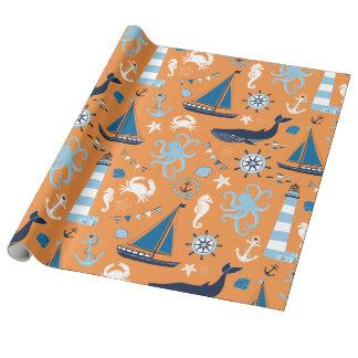 航海のな海のオレンジ ラッピングペーパー
