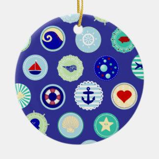 航海のな海の青い船員パターン セラミックオーナメント