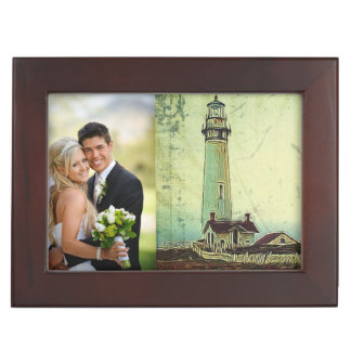 航海のな海景の油絵のヴィンテージの灯台 ジュエリーボックス