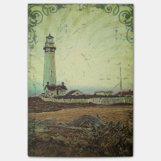 航海のな海景の油絵のヴィンテージの灯台 ポストイット