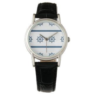 航海のな海洋のクラシックで黒い革 腕時計