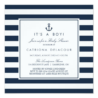 航海のな海軍それは男の子のベビーシャワーの招待状です 13.3 スクエアインビテーションカード