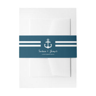 航海のな海軍結婚式招待状の腹バンド 招待状ベリーバンド