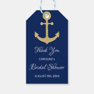 航海のな濃紺のいかりのブライダルシャワーありがとう ギフトタグ