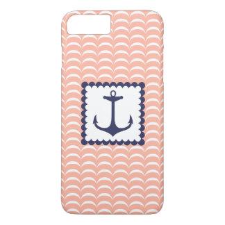 航海のな濃紺のいかりの珊瑚のピンクの波 iPhone 8 PLUS/7 PLUSケース