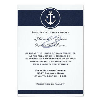 航海のな濃紺のいかりの結婚式招待状 11.4 X 15.9 インビテーションカード