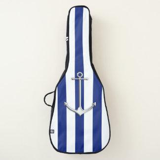 航海のな濃紺のストライプのプリントのクロムいかり ギターケース