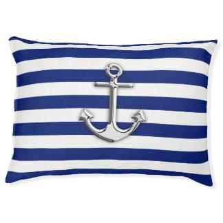 航海のな濃紺のストライプのプリントのクロムいかり ペットベッド