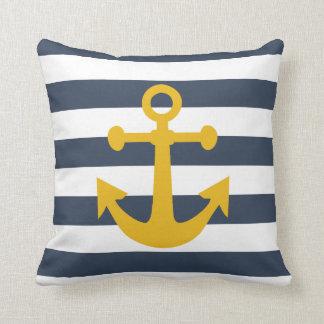 航海のな濃紺のストライプのマスタードの黄色のいかり クッション