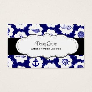 航海のな濃紺の倍のサイドビジネスカード 名刺