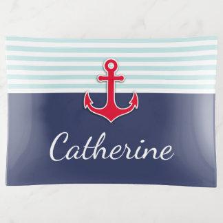 航海のな濃紺の赤いいかりはカスタム設計します トリンケットトレー