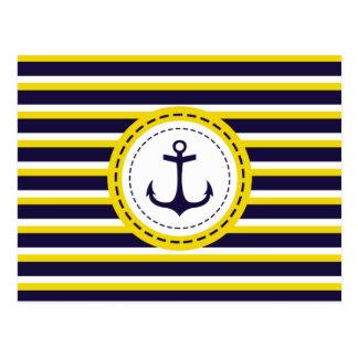 航海のな濃紺の黄色のストライプのいかりのデザイン ポストカード