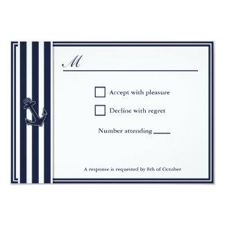 航海のな濃紺はRSVPのinvititationを飲み込みます カード