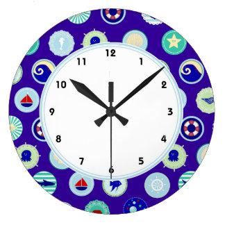 航海のな濃紺海洋パターン柱時計 ラージ壁時計
