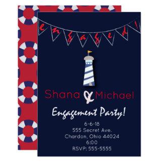 航海のな灯台の婚約パーティの招待状 カード