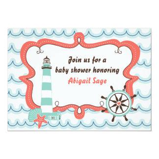 航海のな灯台中立ベビーシャワーの招待状 カード