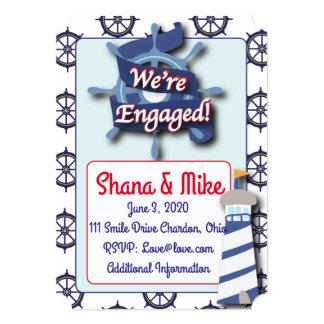 航海のな灯台婚約パーティの招待状 カード