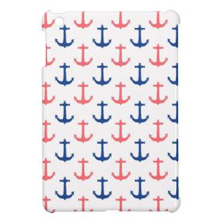 航海のな珊瑚および濃紺のいかりパターン iPad MINIケース