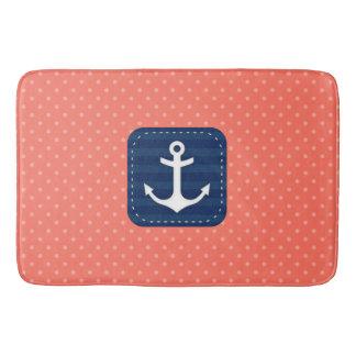 航海のな珊瑚の水玉模様パターン濃紺のいかり バスマット