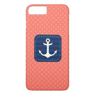 航海のな珊瑚の水玉模様パターン濃紺のいかり iPhone 8 PLUS/7 PLUSケース