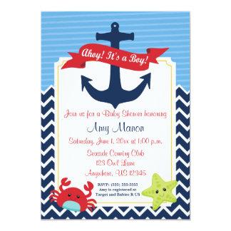 航海のな男の子のベビーシャワーの名前入りな招待状 カード