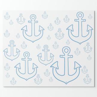 航海のな白いいかりのシンプルなパターン ラッピングペーパー