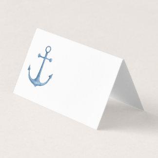 航海のな結婚式。 青いいかりの座席カード。 ビーチ プレイスカード