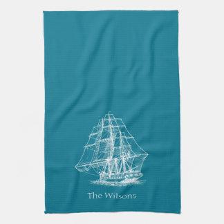 航海のな航行の高い船のヴィンテージ キッチンタオル