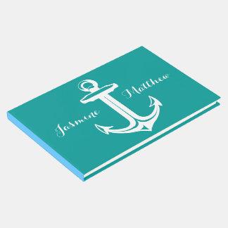 航海のな船のいかりのティール(緑がかった色)の結婚式、ブライダルシャワー ゲストブック