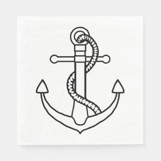 航海のな船のいかりの白黒結婚披露宴 スタンダードランチョンナプキン