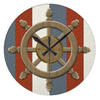航海のな船の車輪の柱時計 ラージ壁時計