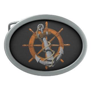 航海のな船車輪およびいかり 卵形バックル