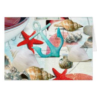 航海のな貝殻のいかりのヒトデのビーチのテーマ カード