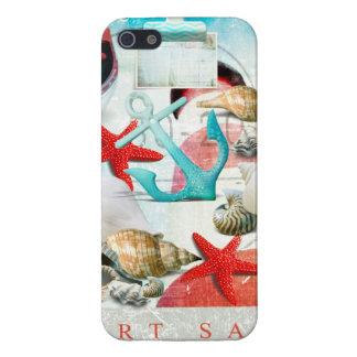 航海のな貝殻のいかりのヒトデのビーチのテーマ iPhone SE/5/5sケース