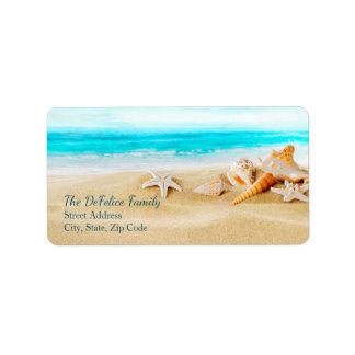 航海のな貝殻は及び2つを-テンプレート浜に引き上げます 宛名ラベル