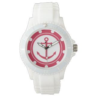 航海のな赤と白のいかり 腕時計