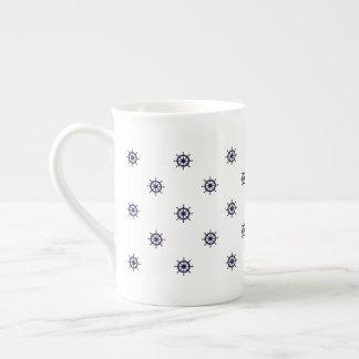 航海のな車輪のコーヒーか茶マグ ボーンチャイナカップ