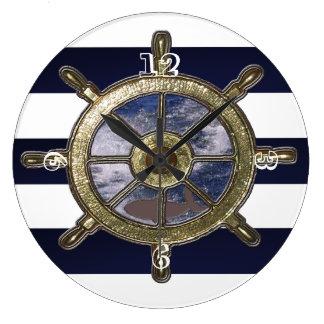 航海のな車輪水波の鮫 ラージ壁時計
