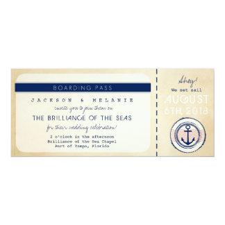航海のな遊航船の搭乗券の結婚式の招待 カード