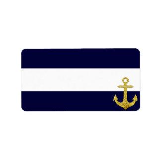 航海のな金ゴールドのいかりは縞で飾ります 宛名ラベル