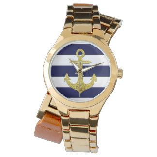 航海のな金ゴールドのいかりは縞で飾ります 腕時計